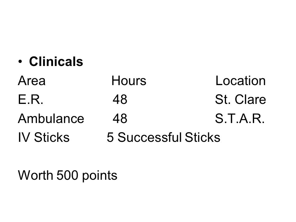 Clinicals Area Hours Location E.R. 48 St. Clare Ambulance 48 S.T.A.R. IV Sticks5 Successful Sticks Worth 500 points