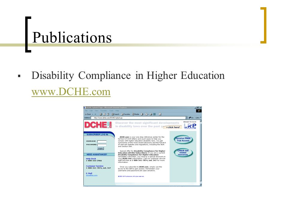 Publications Disability Compliance in Higher Education