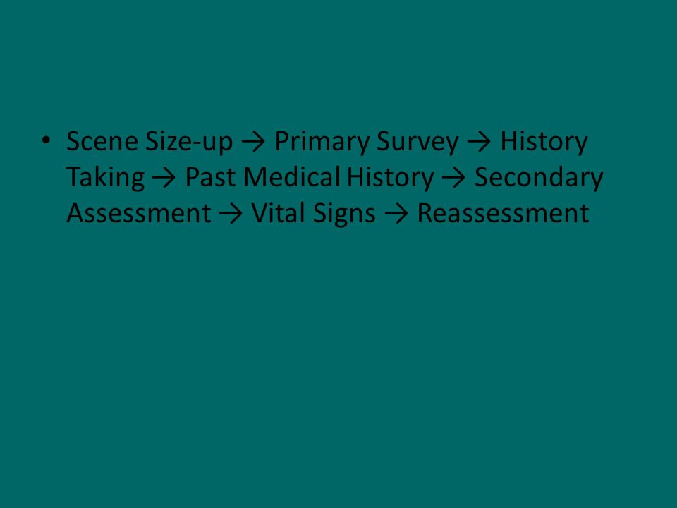 Scene Size-up Primary Survey History Taking Past Medical History Secondary Assessment Vital Signs Reassessment