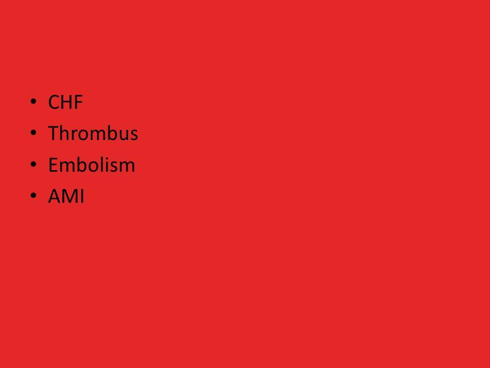 CHF Thrombus Embolism AMI