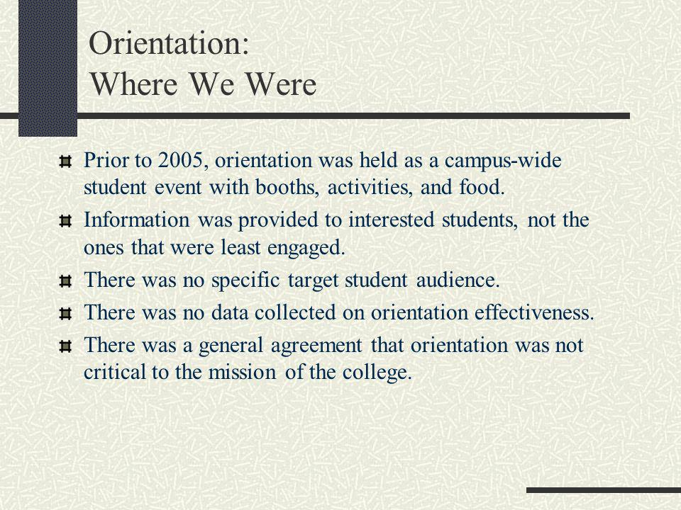 Orientation: Where We Were Prior to 2005, orientation was held as a campus-wide student event with booths, activities, and food. Information was provi