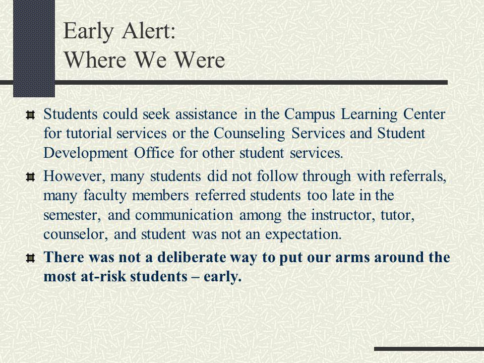 Early Alert: Where We Were Students could seek assistance in the Campus Learning Center for tutorial services or the Counseling Services and Student D