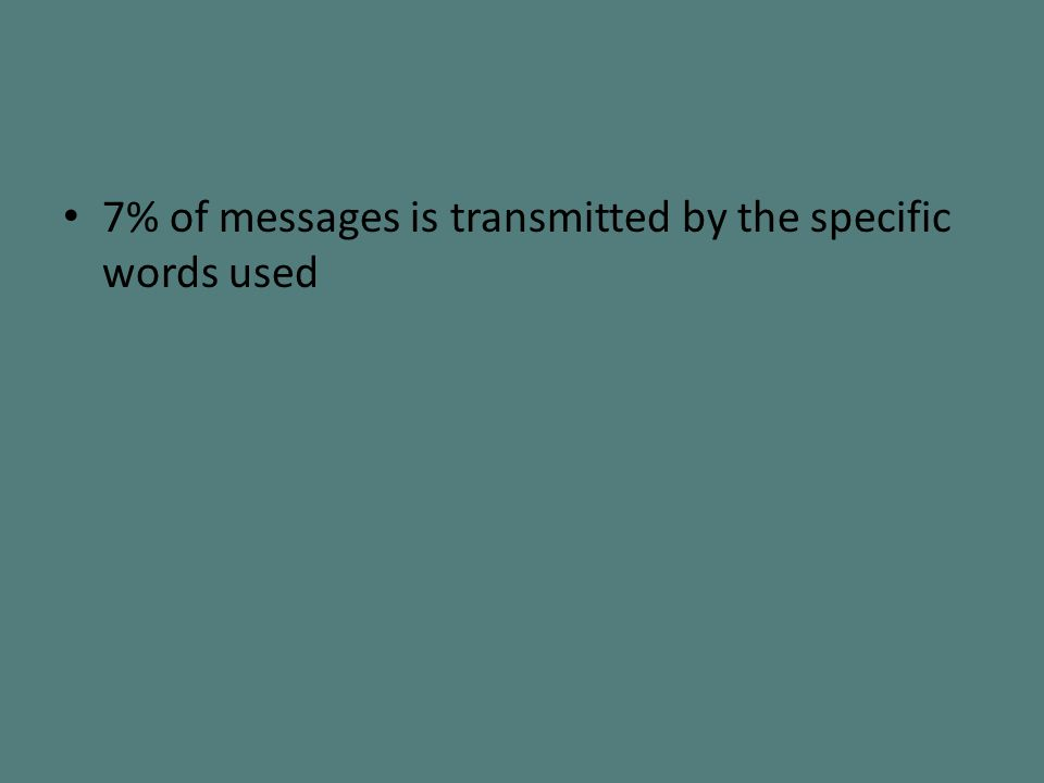 7% of messages is transmitted by the specific words used