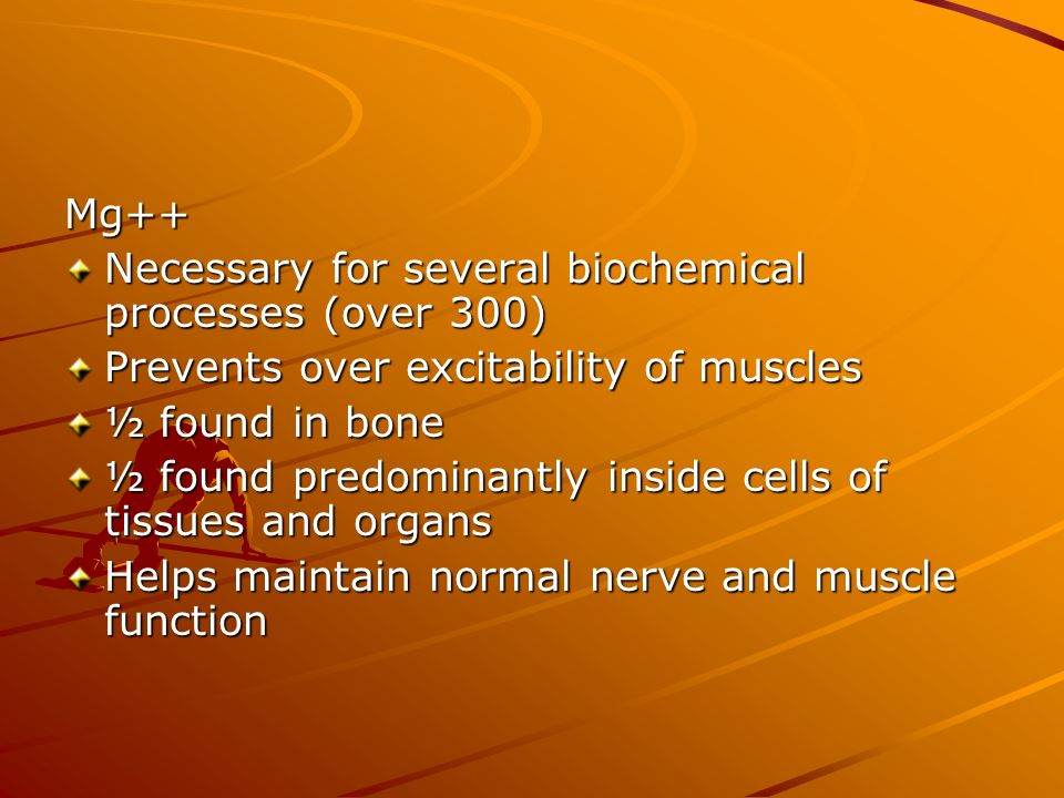 Mg++ Necessary for several biochemical processes (over 300) Prevents over excitability of muscles ½ found in bone ½ found predominantly inside cells o