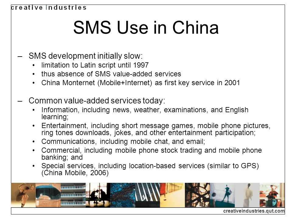 creativeindustries.qut.com The SMS Explosion