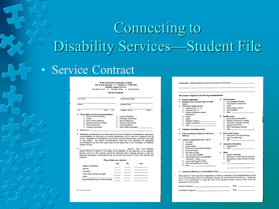 Connecting to Disability ServicesStudent File Service Contract