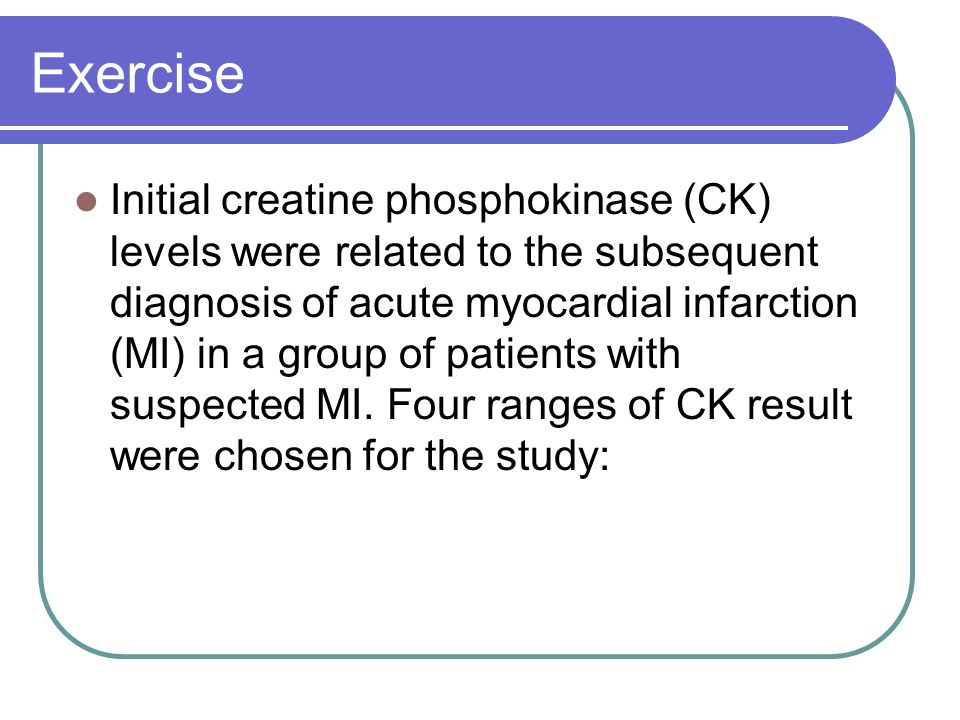 Exercise Initial creatine phosphokinase (CK) levels were related to the subsequent diagnosis of acute myocardial infarction (MI) in a group of patient