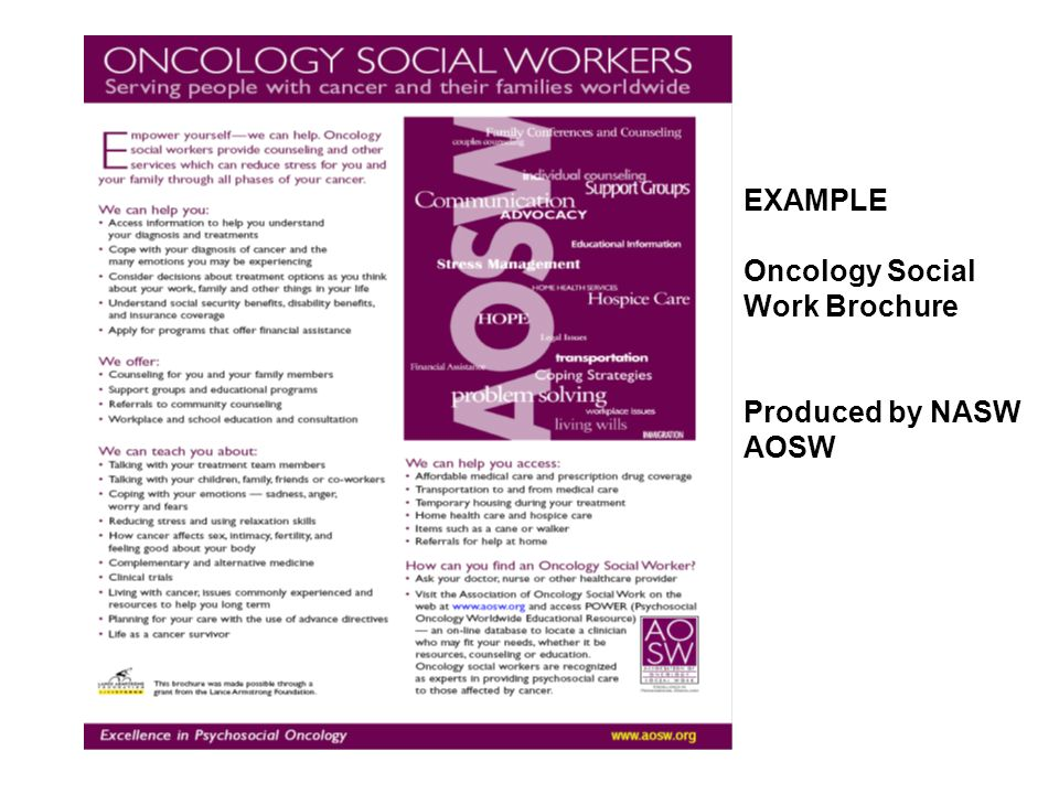 EXAMPLE Oncology Social Work Brochure Produced by NASW AOSW