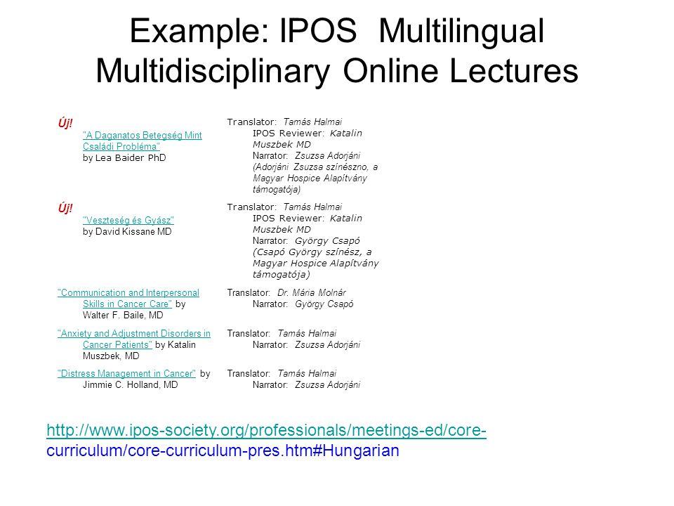 Example: IPOS Multilingual Multidisciplinary Online Lectures Új.