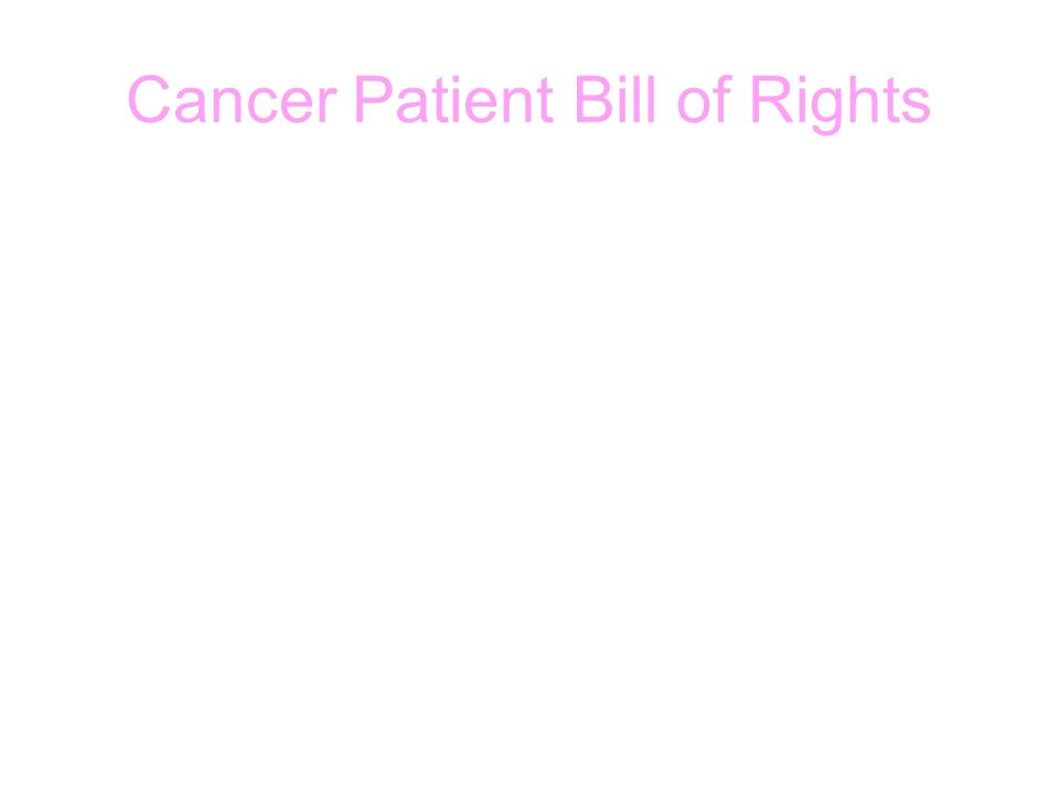 Cancer Patient Bill of Rights
