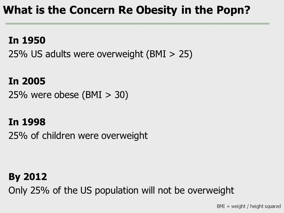 What is the Concern Re Obesity in the Popn.