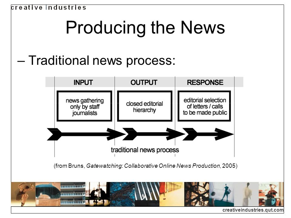 creativeindustries.qut.com Producing the News Traditional news process: (from Bruns, Gatewatching: Collaborative Online News Production, 2005)