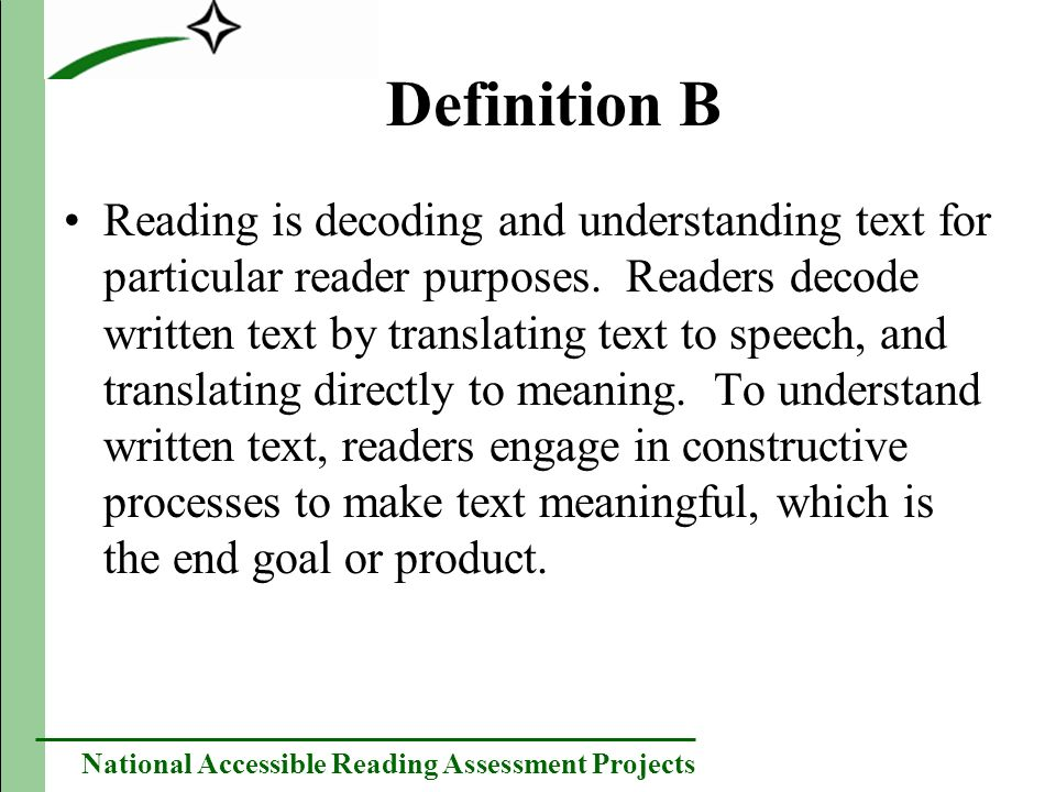 National Accessible Reading Assessment Projects Results: Phone and Web-Based Focus Groups Results were similar to face-to-face focus groups.