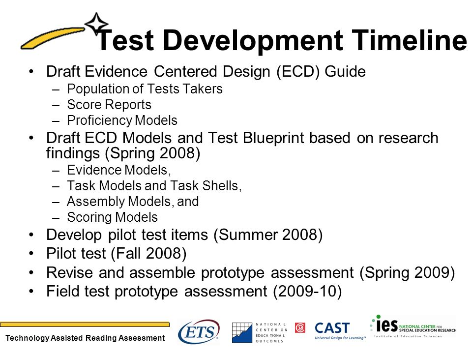 Technology Assisted Reading Assessment Test Development Timeline Draft Evidence Centered Design (ECD) Guide –Population of Tests Takers –Score Reports