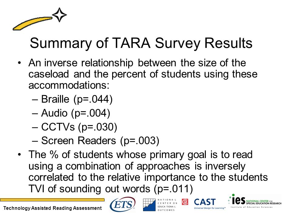 Technology Assisted Reading Assessment Summary of TARA Survey Results An inverse relationship between the size of the caseload and the percent of stud