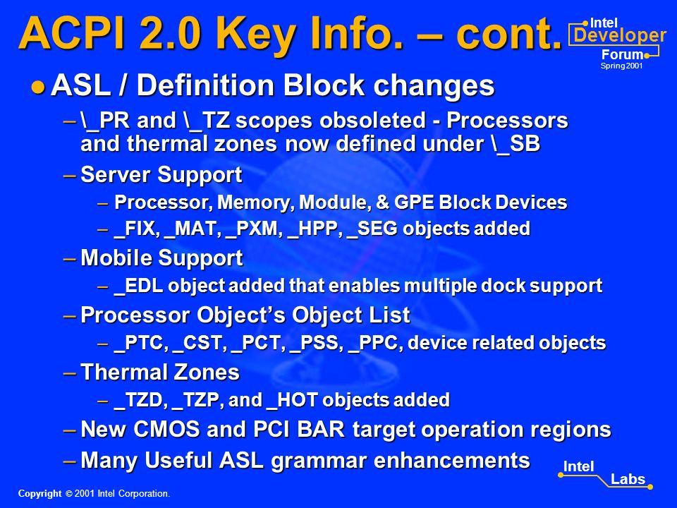Intel Developer Forum Spring 2001 Intel Labs ACPI 2.0 Key Info.