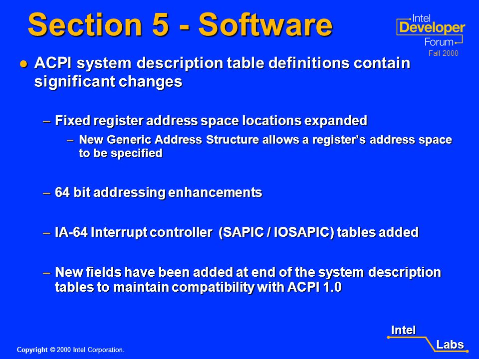 Intel Labs Labs Copyright © 2000 Intel Corporation. Fall 2000 Hardware - continued Reset Register Reset Register –The optional ACPI reset mechanism sp