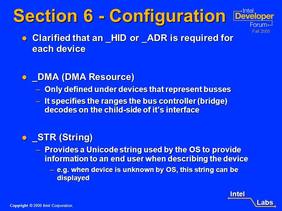 Intel Labs Labs Copyright © 2000 Intel Corporation. Fall 2000 ACPI 2.0 System Description Tables RSDP Structure RSDT XSDT SSDT DSDT FADT