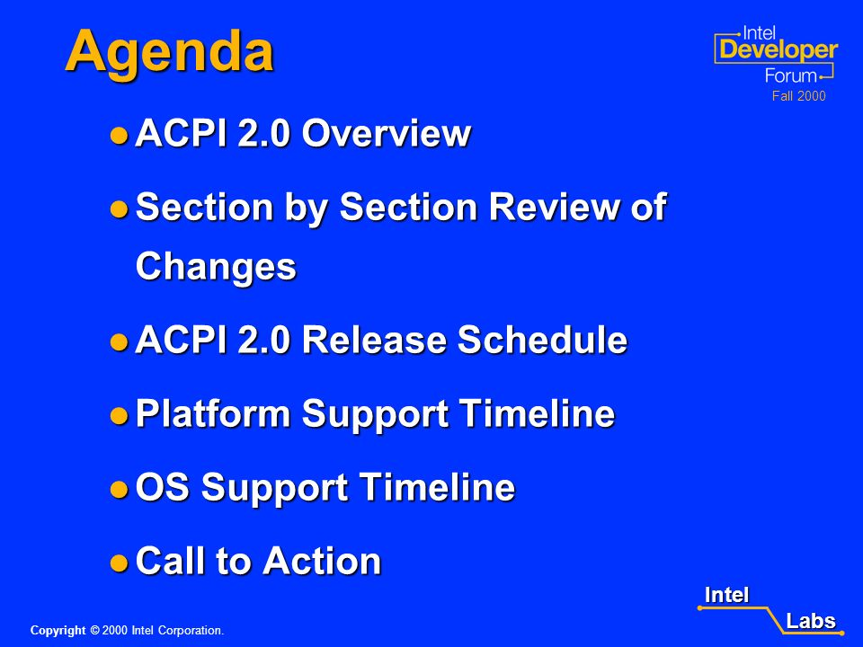 Intel Labs Labs Copyright © 2000 Intel Corporation. Fall 2000 Learning Objectives Differentiate the changes in ACPI moving from ACPI 1.0b to ACPI 2.0