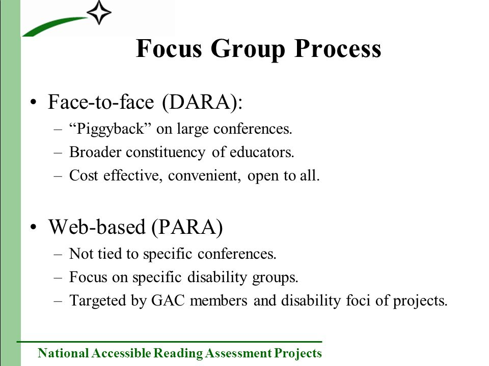 National Accessible Reading Assessment Projects Focus Group Process Face-to-face (DARA): –Piggyback on large conferences.