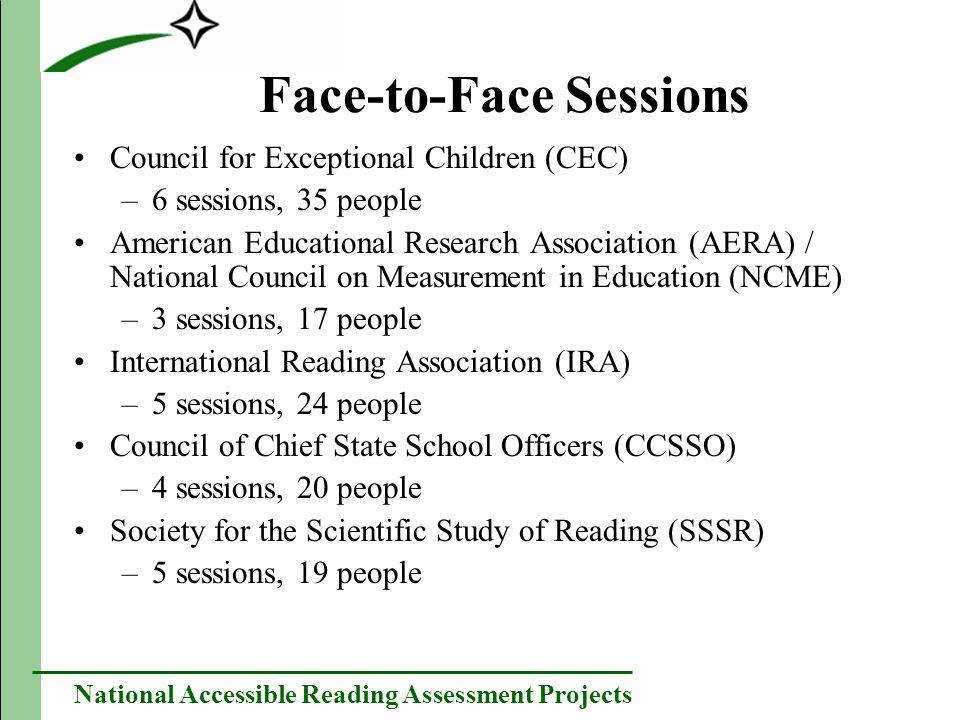 National Accessible Reading Assessment Projects Teleconference Sessions National Down Syndrome Society (NDSS) –4 people Center for Applied Linguistics (CAL) –1 person Parent Advocacy Center for Educational Rights (PACER) –3 people The American Speech-Language-Hearing Association (ASHA) –2 people Gallaudet Research Institute –4 people The Association of State Consultants of Blind/Visually Impaired –6 people TASH/The ARC –7 people