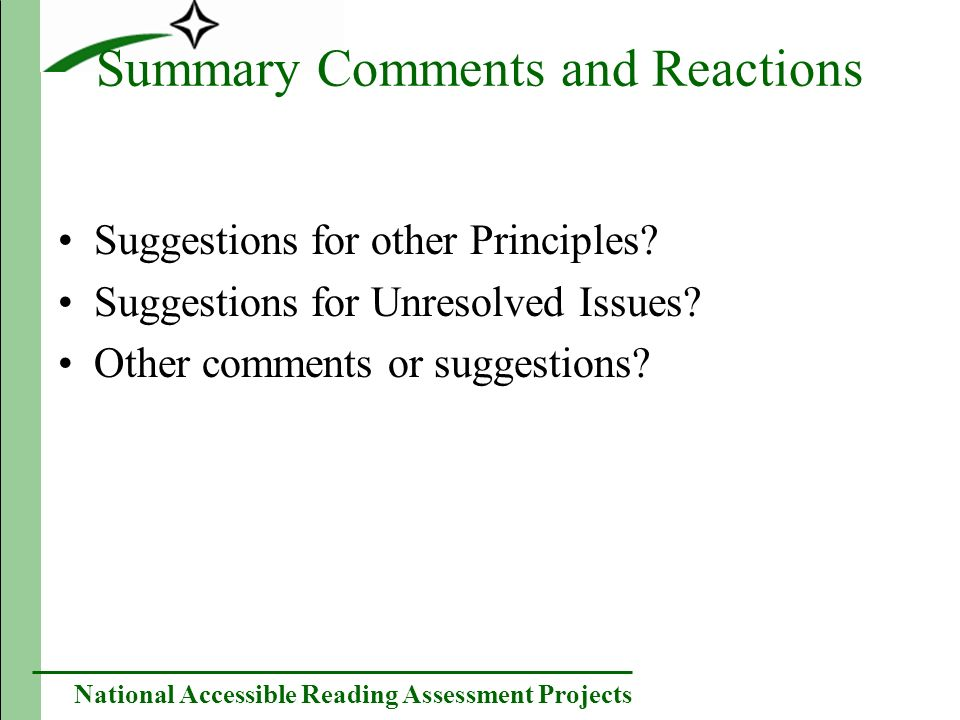 National Accessible Reading Assessment Projects Summary Comments and Reactions Suggestions for other Principles.