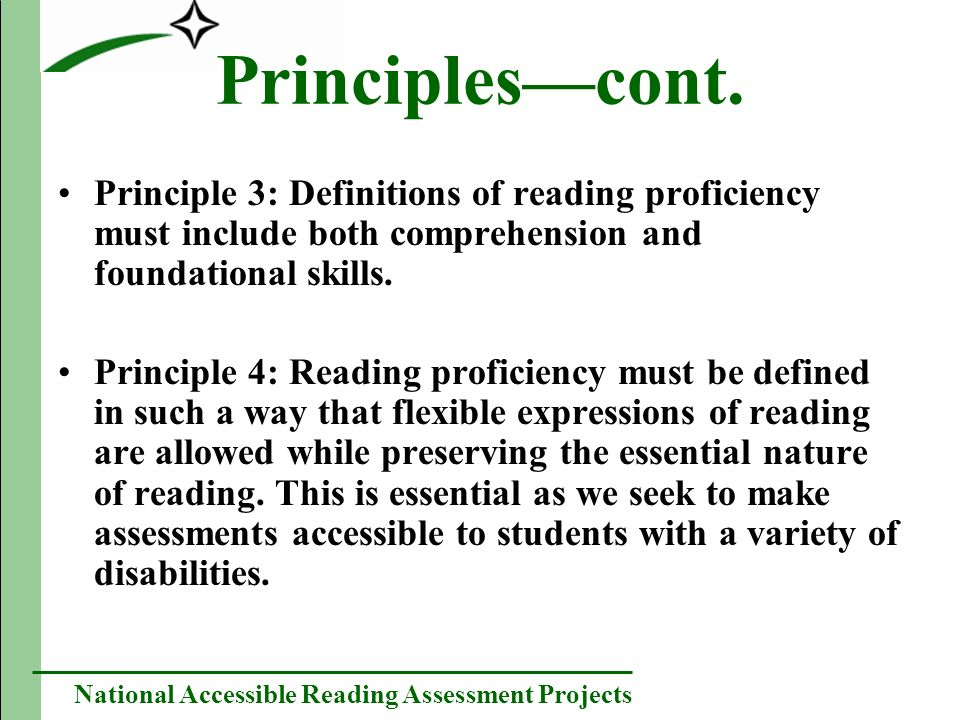 National Accessible Reading Assessment Projects Principlescont.