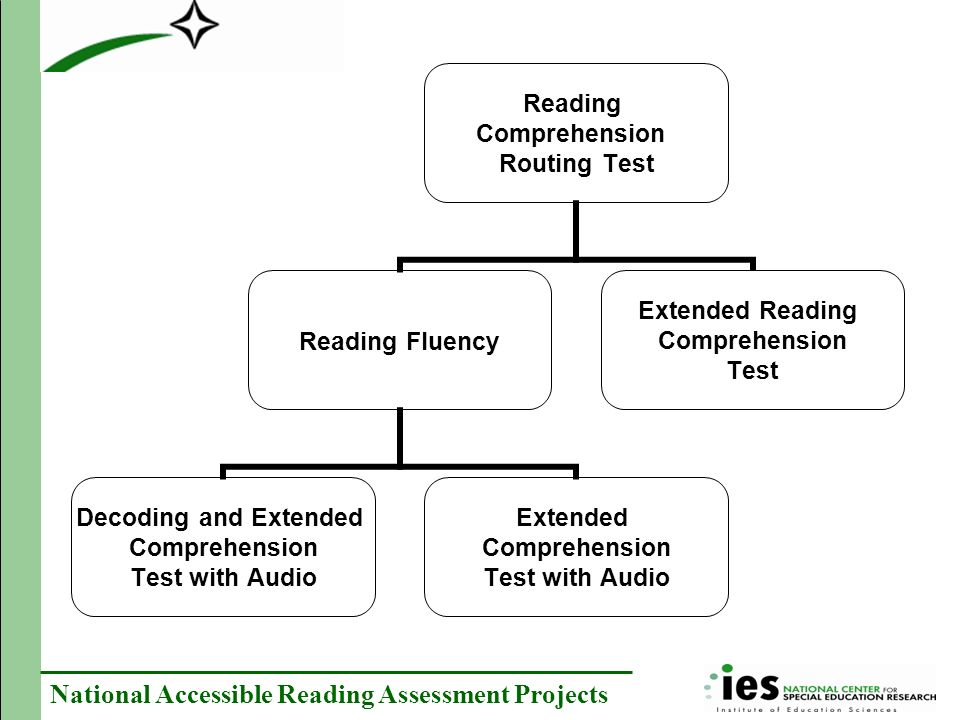 National Accessible Reading Assessment Projects Reading Comprehension Routing Test Reading Fluency Decoding and Extended Comprehension Test with Audio Extended Comprehension Test with Audio Extended Reading Comprehension Test