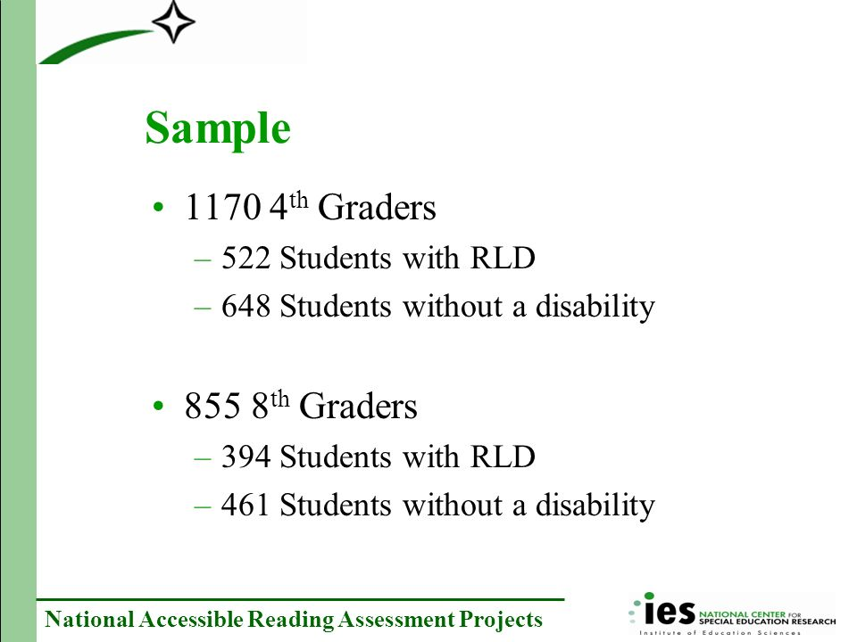 National Accessible Reading Assessment Projects Design Group Session 1Session 2 FormAccommodationFormAccommodation 1SStandardTAudio 2S TStandard 3T SAudio 4T SStandard