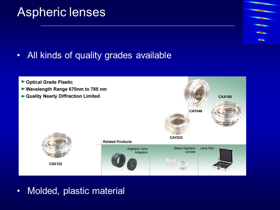 Aspheric lenses All kinds of quality grades available Molded, plastic material