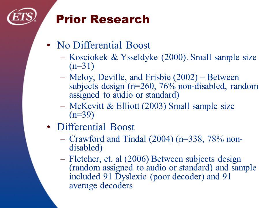 Prior Research No Differential Boost –Kosciokek & Ysseldyke (2000).