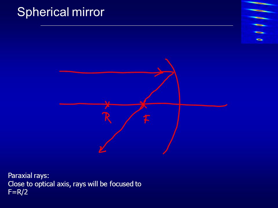 Spherical mirror Paraxial rays: Close to optical axis, rays will be focused to F=R/2