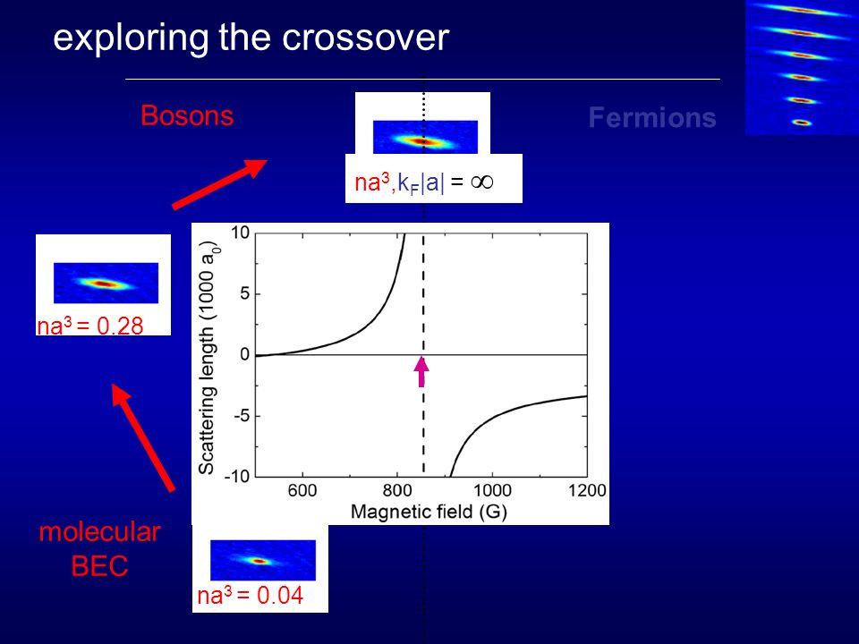 exploring the crossover molecular BEC Fermions Bosons na 3 = 0.04 na 3 = 0.28 k F |a| = 6 na 3,k F |a| =