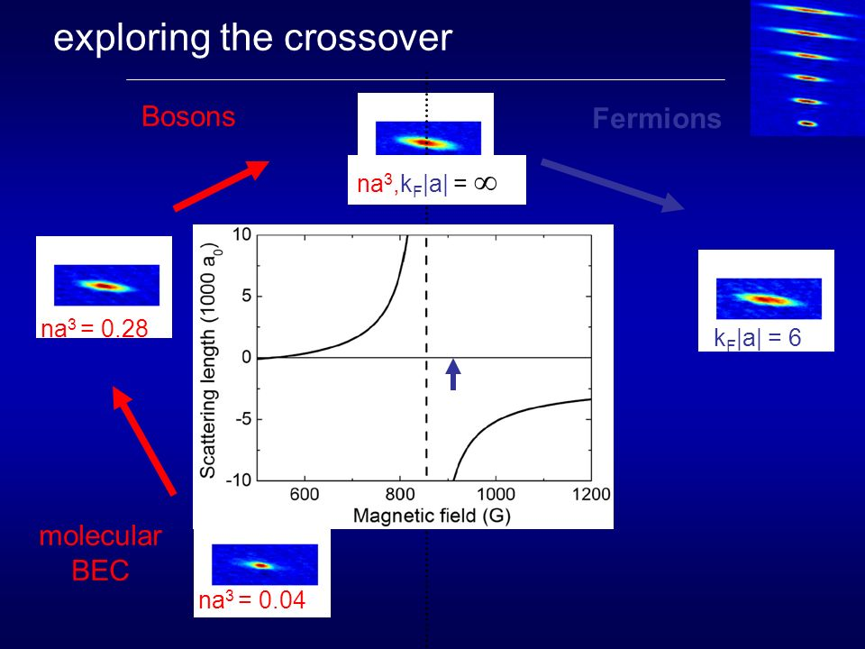 exploring the crossover molecular BEC degenerate Fermi gas Fermions Bosons na 3 = 0.04 na 3 = 0.28 k F |a| = 1 k F |a| = 6 na 3,k F |a| = Bartenstein et al, PRL 92, 120401 (2004)