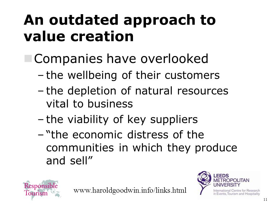 11 www.haroldgoodwin.info/links.html An outdated approach to value creation Companies have overlooked –the wellbeing of their customers –the depletion