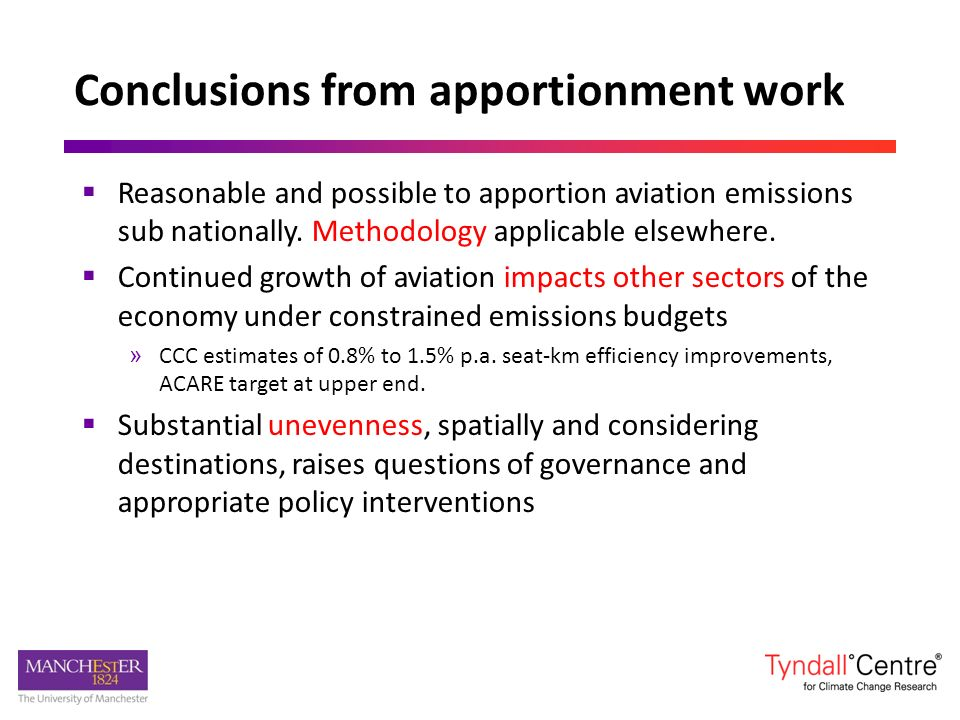 Conclusions from apportionment work Reasonable and possible to apportion aviation emissions sub nationally.