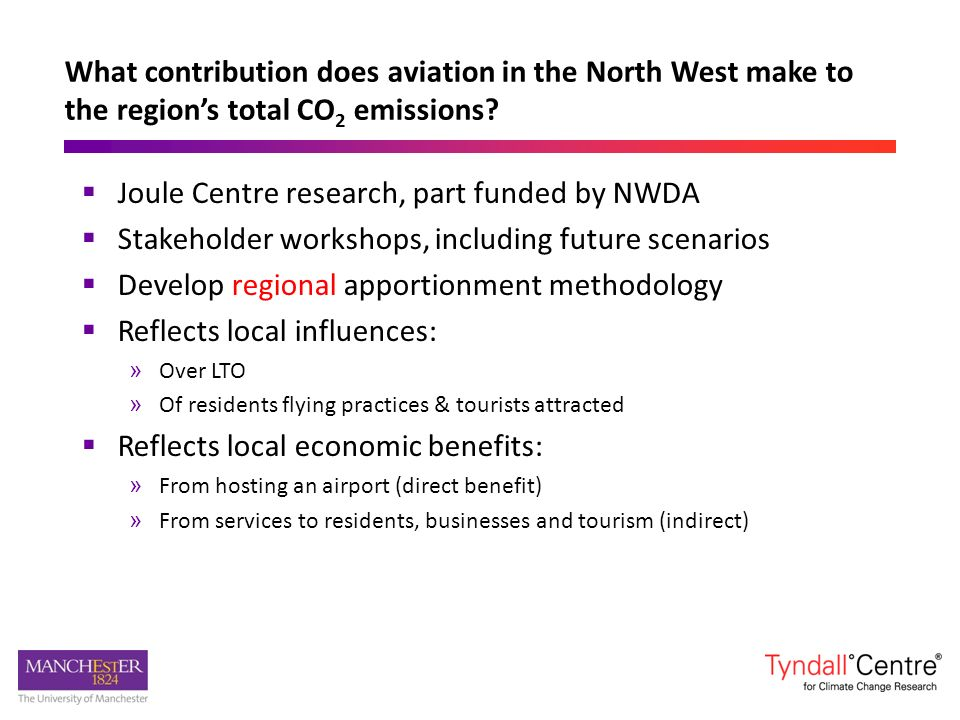 Joule Centre research, part funded by NWDA Stakeholder workshops, including future scenarios Develop regional apportionment methodology Reflects local