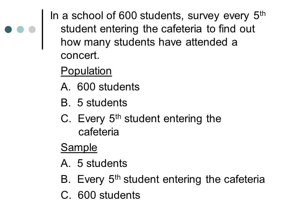 In a school of 600 students, survey every 5 th student entering the cafeteria to find out how many students have attended a concert. Population A. 600