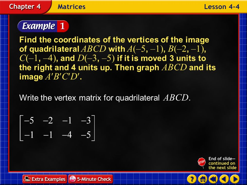 Example 4-1b To translate the quadrilateral 3 units to the right, add 3 to each x -coordinate.