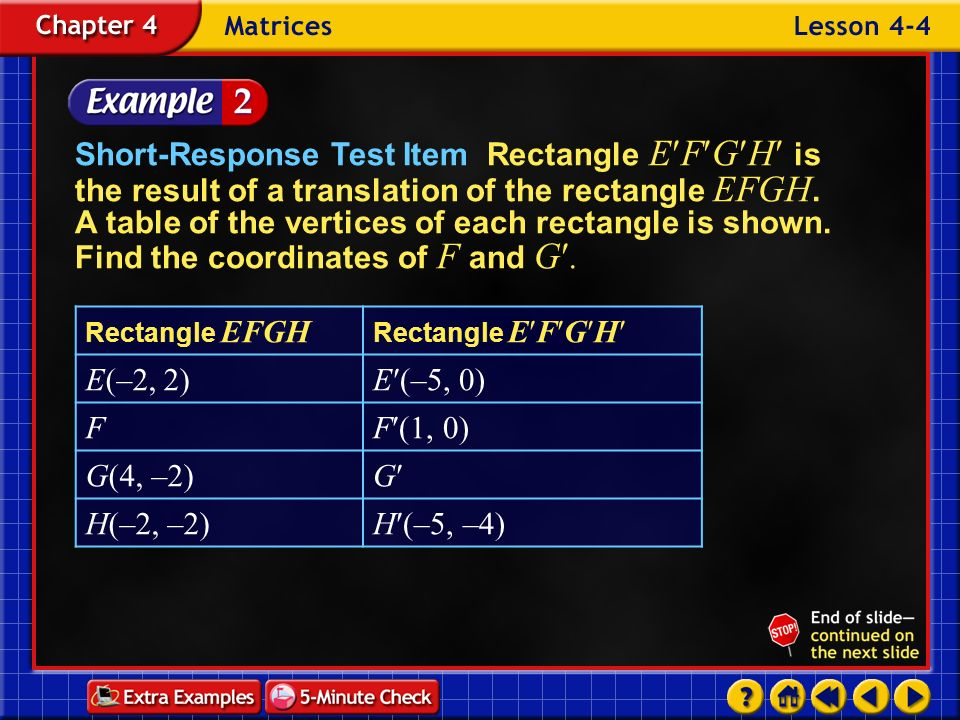 Example 4-2a Short-Response Test Item Rectangle E F G H is the result of a translation of the rectangle EFGH. A table of the vertices of each rectangl
