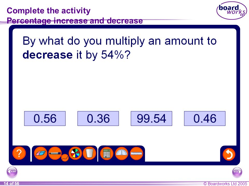 © Boardworks Ltd 2005 14 of 56 Complete the activity Percentage increase and decrease