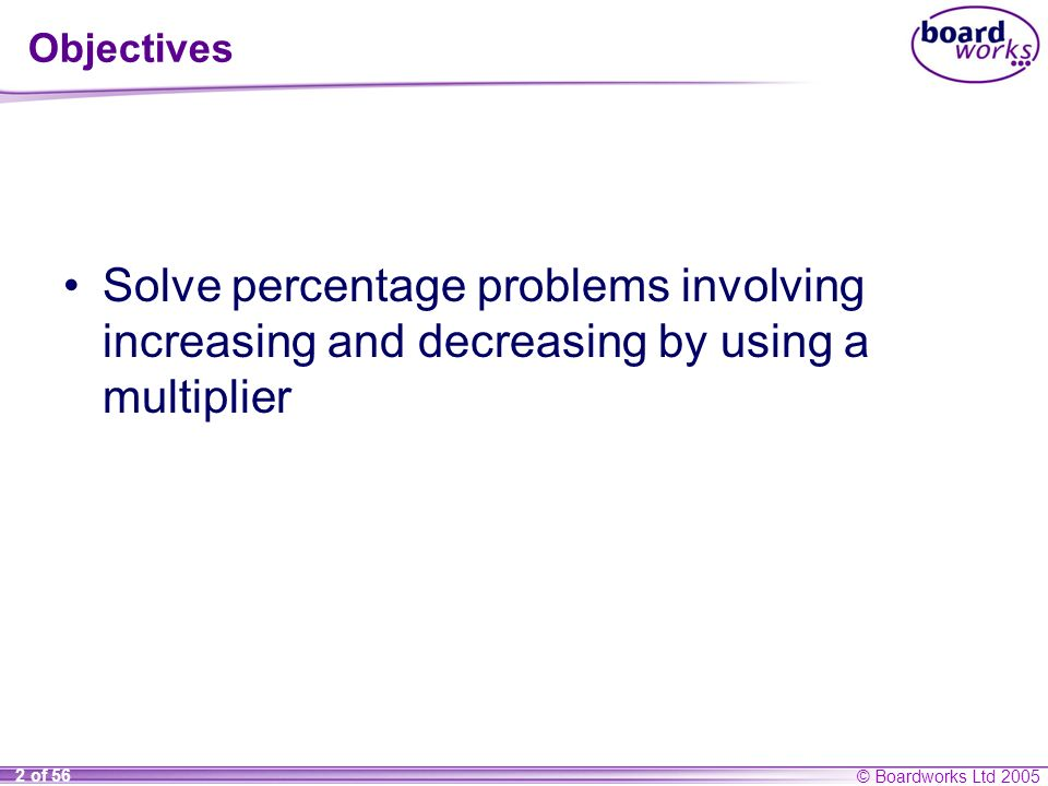© Boardworks Ltd 2005 2 of 56 Objectives Solve percentage problems involving increasing and decreasing by using a multiplier
