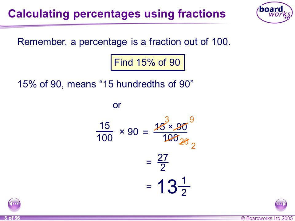 © Boardworks Ltd 2005 3 of 56 Calculating percentages using fractions Remember, a percentage is a fraction out of 100. 15% of 90, means 15 hundredths