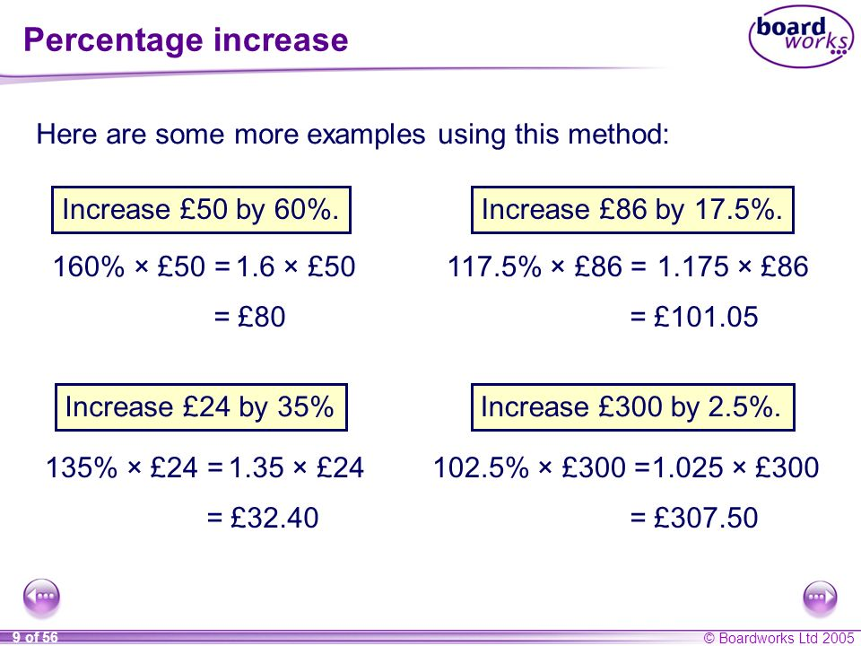© Boardworks Ltd 2005 10 of 56 Percentage decrease There are two methods to decrease an amount by a given percentage.