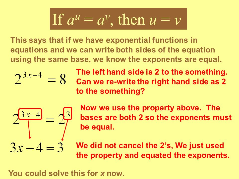 This says that if we have exponential functions in equations and we can write both sides of the equation using the same base, we know the exponents ar