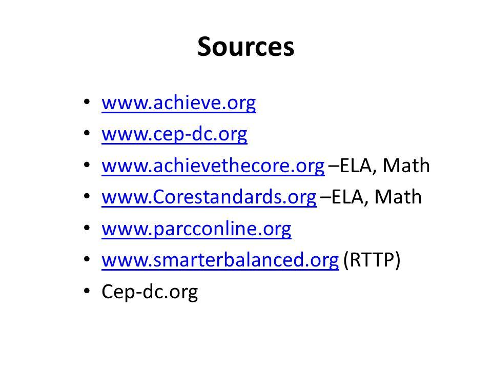 Sources www.achieve.org www.cep-dc.org www.achievethecore.org –ELA, Math www.achievethecore.org www.Corestandards.org –ELA, Math www.Corestandards.org www.parcconline.org www.smarterbalanced.org (RTTP) www.smarterbalanced.org Cep-dc.org
