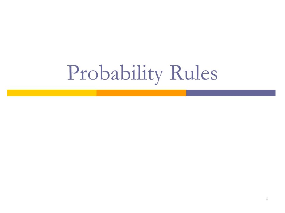 2 Review of Basic Probability Rules Complement Rule P(A) = 1 – P(A c ) Addition Rule for Mutually Exclusive Events P(A or B) = P(A) + P(B) Multiplication Rule for Independent Events P(A and B) = P(A)*P(B) At Least One Rule P(At least one) = 1 – P(none)