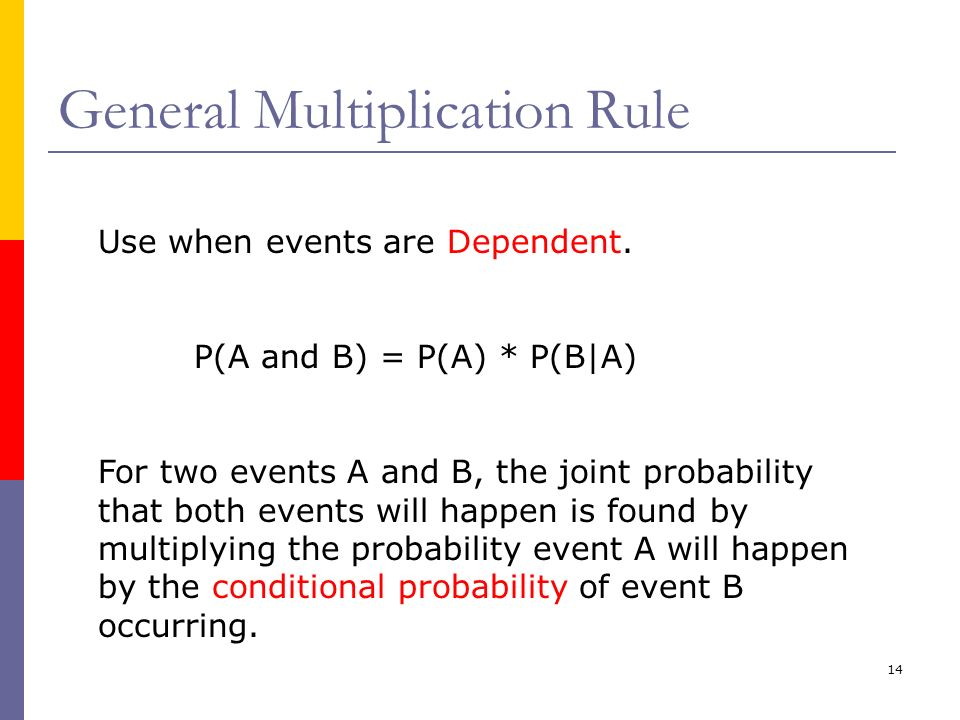 14 General Multiplication Rule Use when events are Dependent. P(A and B) = P(A) * P(B|A) For two events A and B, the joint probability that both event