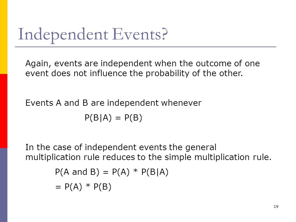 19 Independent Events? Again, events are independent when the outcome of one event does not influence the probability of the other. Events A and B are