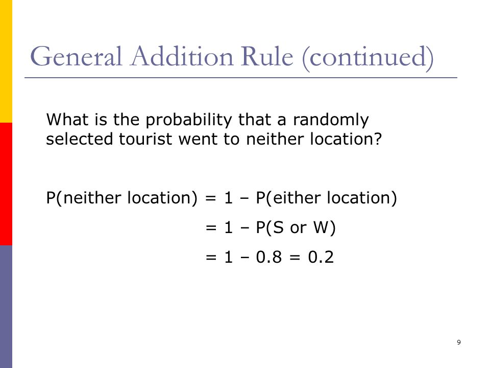 9 General Addition Rule (continued) What is the probability that a randomly selected tourist went to neither location? P(neither location) = 1 – P(eit